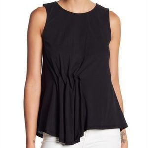 Bobeau Side Pleated Asymmetrical Hem Tank